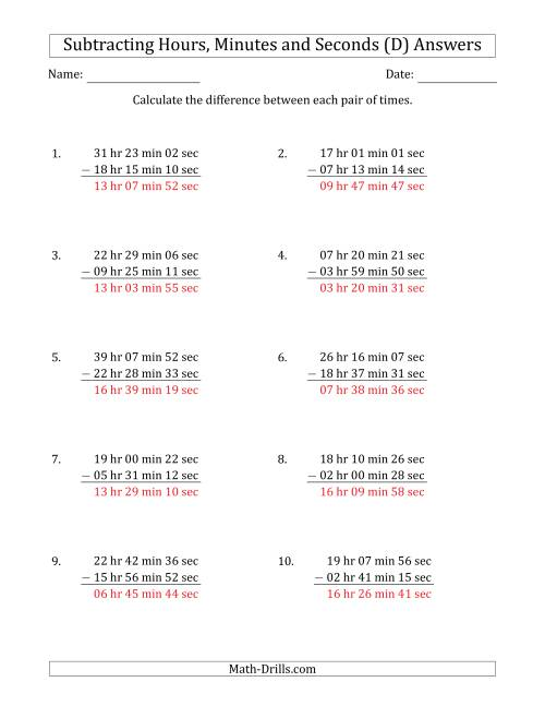 The Subtracting Hours, Minutes and Seconds (Long Format) (D) Math Worksheet Page 2