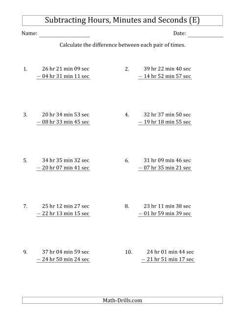 The Subtracting Hours, Minutes and Seconds (Long Format) (E) Math Worksheet