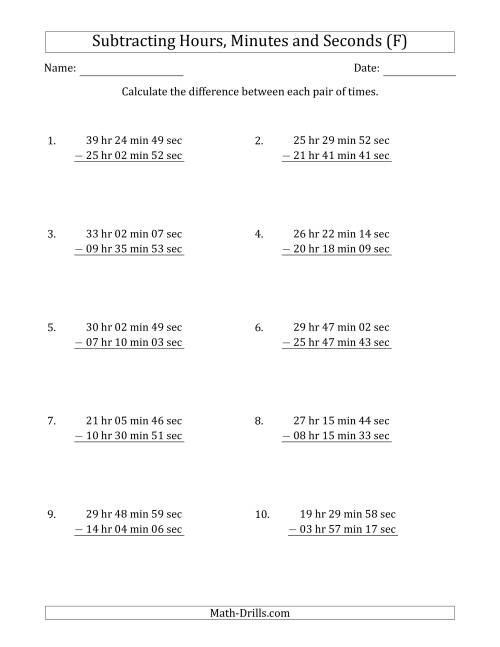 The Subtracting Hours, Minutes and Seconds (Long Format) (F) Math Worksheet