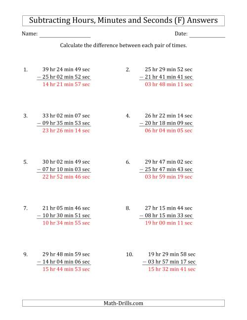 The Subtracting Hours, Minutes and Seconds (Long Format) (F) Math Worksheet Page 2