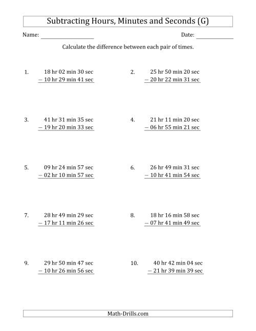 The Subtracting Hours, Minutes and Seconds (Long Format) (G) Math Worksheet