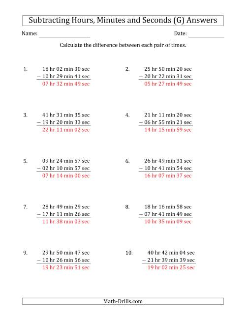 The Subtracting Hours, Minutes and Seconds (Long Format) (G) Math Worksheet Page 2
