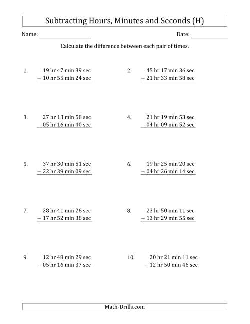 The Subtracting Hours, Minutes and Seconds (Long Format) (H) Math Worksheet