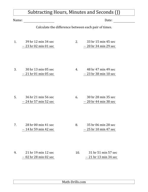 The Subtracting Hours, Minutes and Seconds (Long Format) (J) Math Worksheet