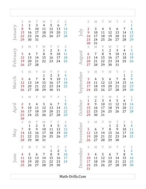 The Yearly Calendar Beginning on Sunday, January 1 (A)