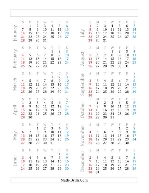 The Yearly Calendar Beginning on Monday, January 1 (B)