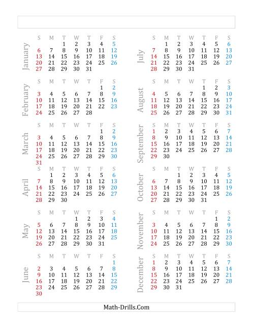 The Yearly Calendar Beginning on Tuesday, January 1 (C)
