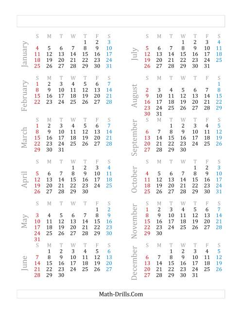 The Yearly Calendar Beginning on Thursday, January 1 (E)