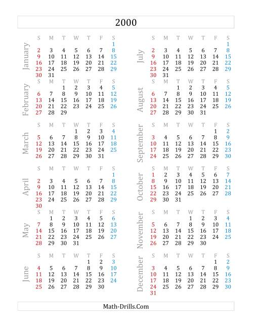 The 2000 Yearly Calendar (A) Math Worksheet