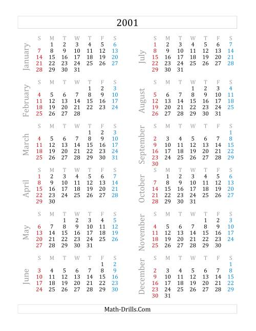 The 2001 Yearly Calendar (A) Math Worksheet