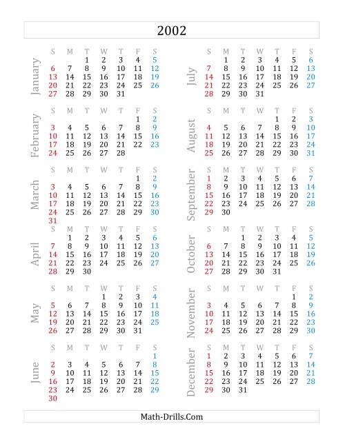 The 2002 Yearly Calendar (A) Math Worksheet