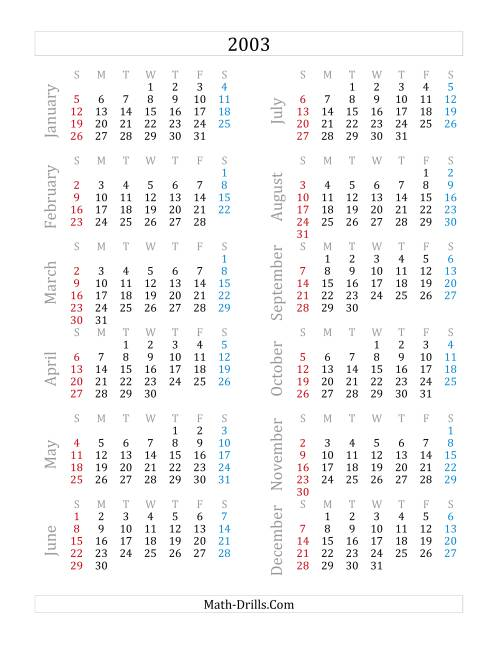 The 2003 Yearly Calendar (A) Math Worksheet