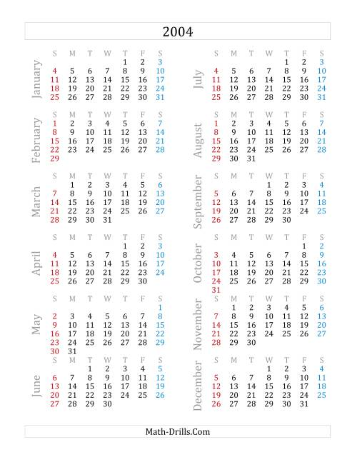 The 2004 Yearly Calendar (A) Math Worksheet
