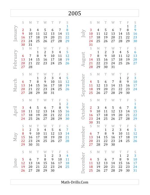 The 2005 Yearly Calendar (A) Math Worksheet