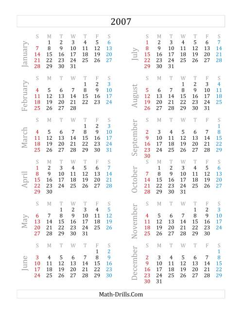 The 2007 Yearly Calendar (A)