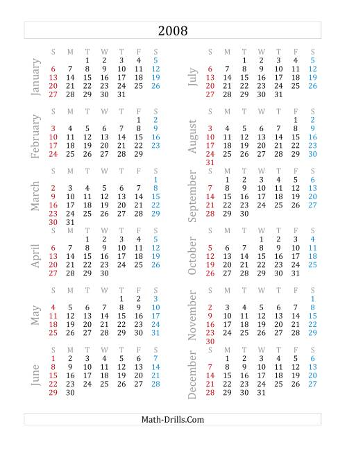 The 2008 Yearly Calendar (A) Math Worksheet
