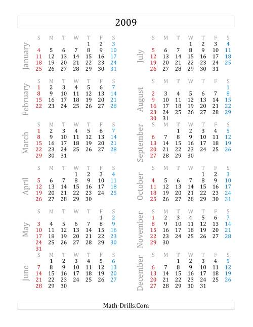 The 2009 Yearly Calendar (A) Math Worksheet