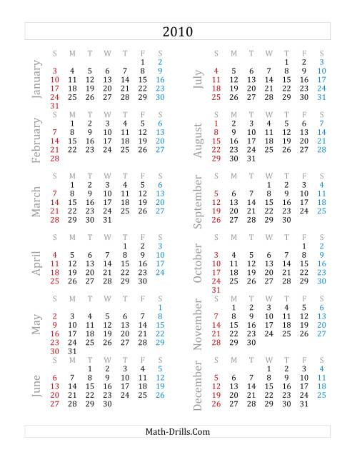 The 2010 Yearly Calendar (A) Math Worksheet