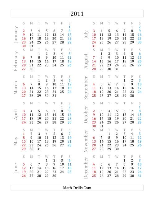 The 2011 Yearly Calendar (A) Math Worksheet