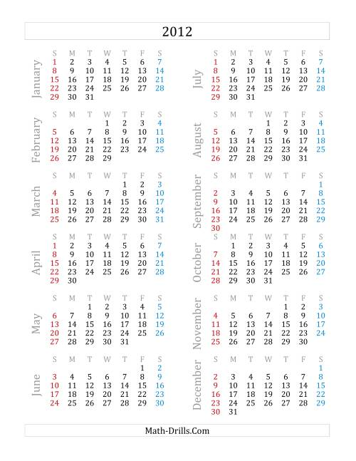 The 2012 Yearly Calendar (A) Math Worksheet