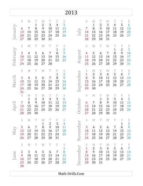 The 2013 Yearly Calendar (A) Math Worksheet