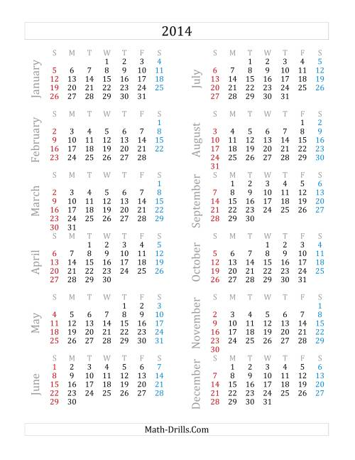 The 2014 Yearly Calendar (A) Math Worksheet