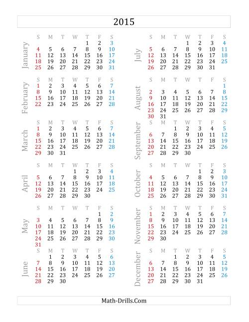 The 2015 Yearly Calendar (A) Math Worksheet