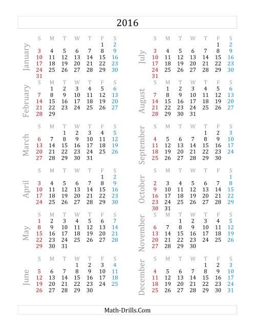Alfa img - Showing > Calendar 2016 Printable One Page