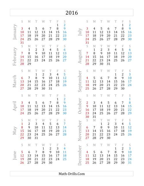 The 2016 Yearly Calendar (A)