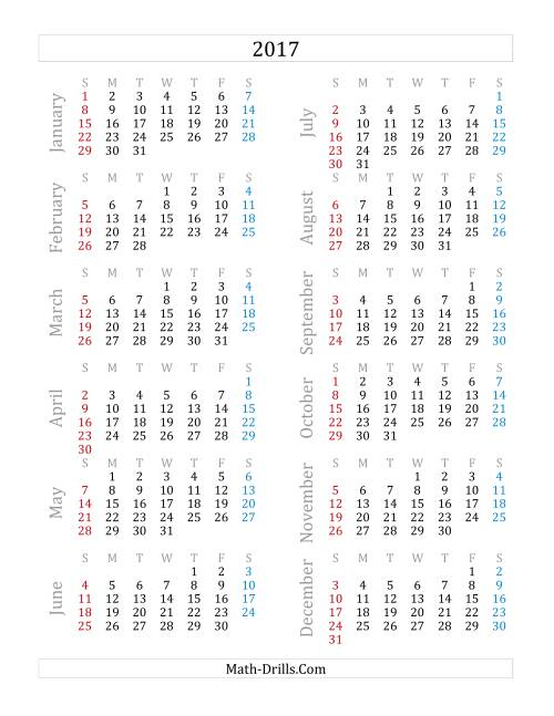 2017 Yearly Calendar (A)