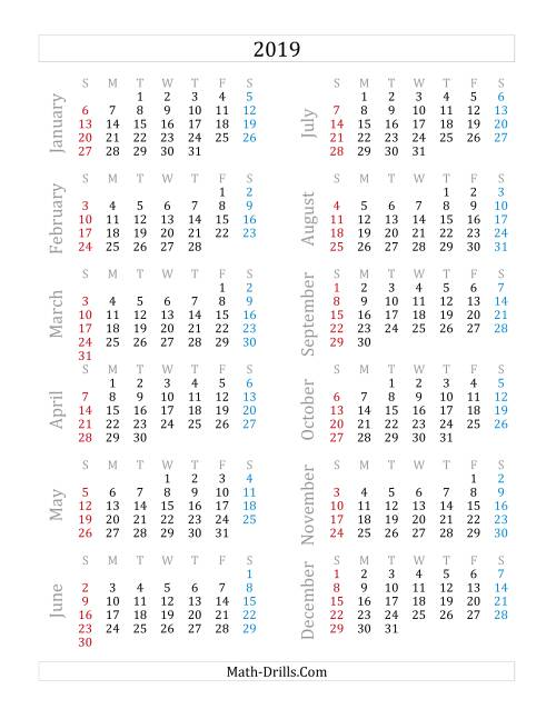 The 2019 Yearly Calendar (A) Math Worksheet