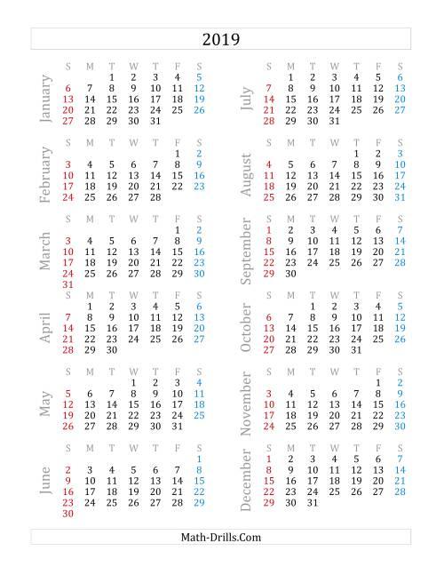 2019 Yearly Calendar (A)