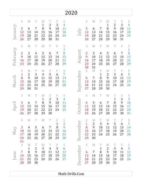 The 2020 Yearly Calendar (A) Math Worksheet