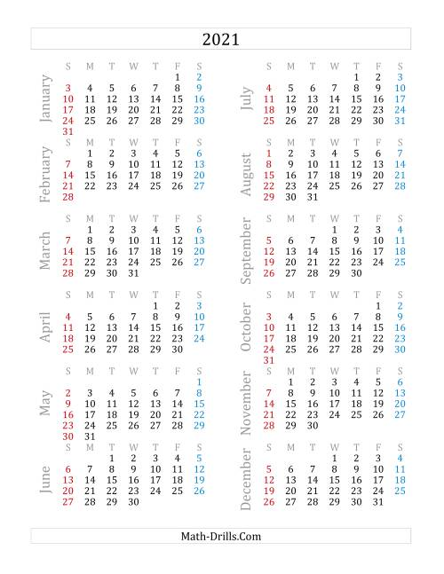 The 2021 Yearly Calendar (A) Math Worksheet