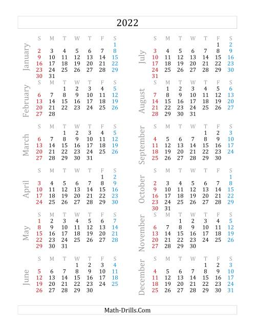 The 2022 Yearly Calendar (A) Math Worksheet