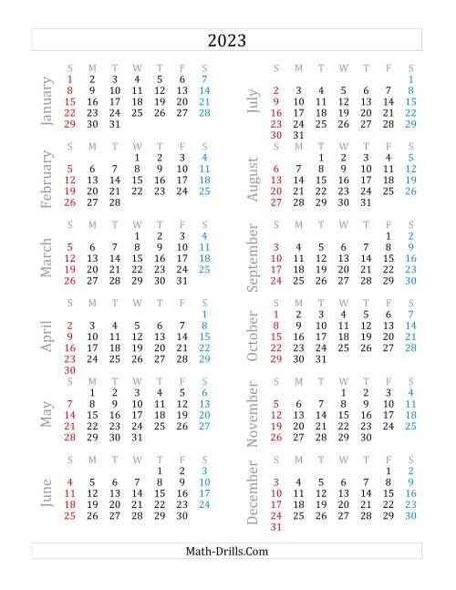 The 2023 Yearly Calendar (A) Math Worksheet