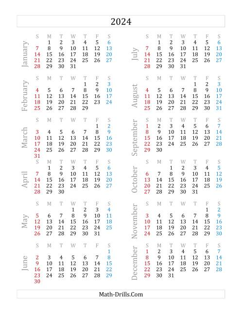 The 2024 Yearly Calendar (A) Math Worksheet