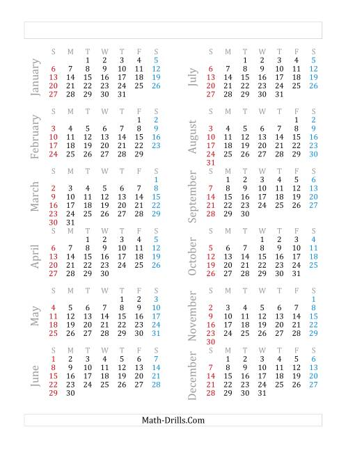 The Yearly Calendar Beginning on Tuesday, January 1 (Leap Year) (C)