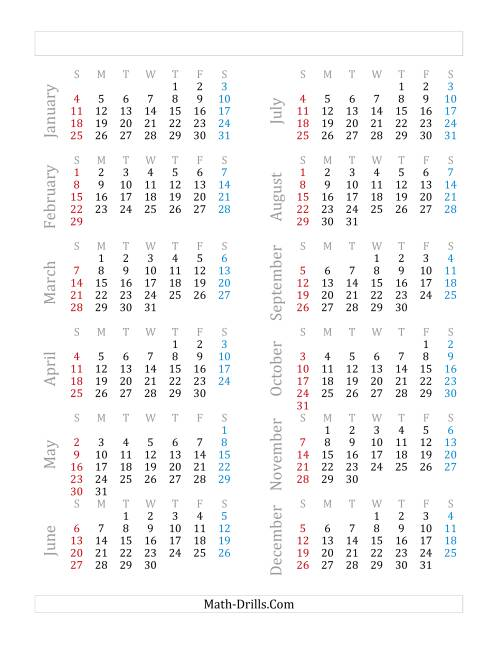 The Yearly Calendar Beginning on Thursday, January 1 (Leap Year) (E)