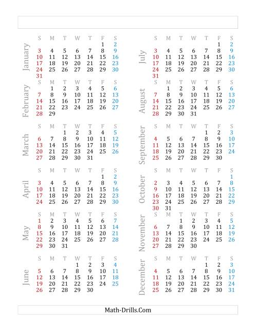 The Yearly Calendar Beginning on Friday, January 1 (Leap Year) (F)
