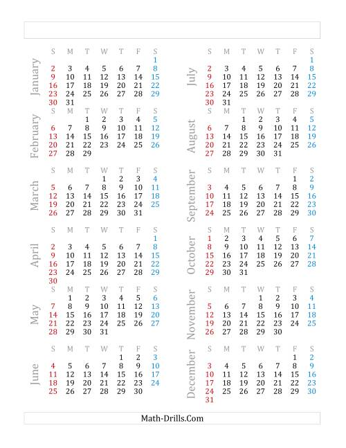 The Yearly Calendar Beginning on Saturday, January 1 (Leap Year) (G)