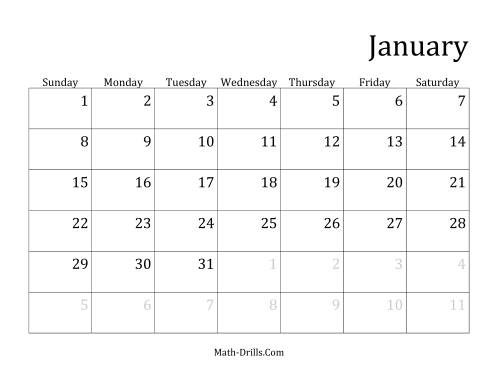 Monthly Leap Year Calendar with January 1 on Sunday (A)