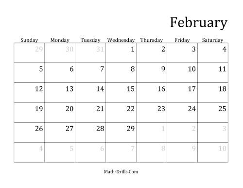 Monthly Leap Year Calendar With January 1 On Sunday A