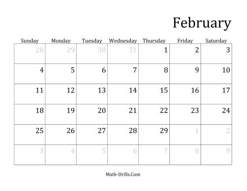 The Monthly Leap Year Calendar with January 1 on Monday (B) Math Worksheet Page 2