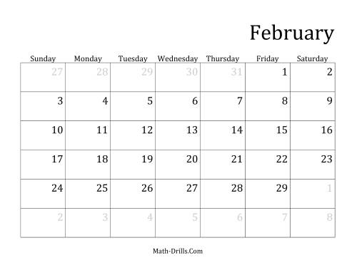 The Monthly Leap Year Calendar with January 1 on Tuesday (C) Math Worksheet Page 2