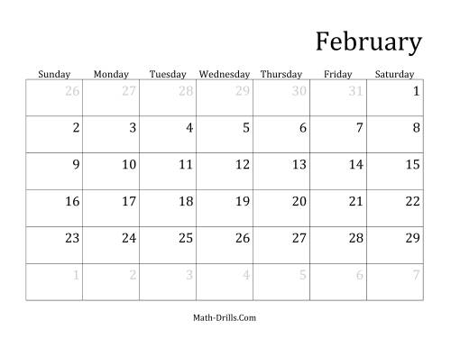 The Monthly Leap Year Calendar with January 1 on Wednesday (D) Math Worksheet Page 2