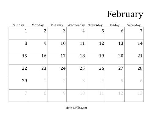 The Monthly Leap Year Calendar with January 1 on Thursday (E) Math Worksheet Page 2