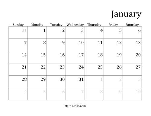 The Monthly General Year Calendar with January 1 on Monday (B) Math Worksheet