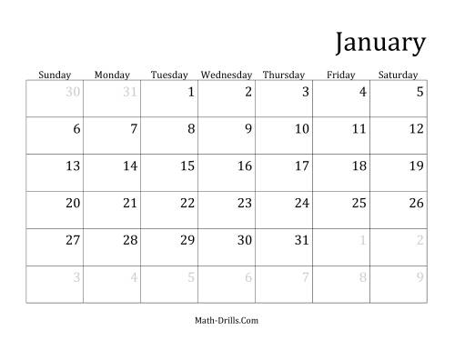 The Monthly General Year Calendar with January 1 on Tuesday (C) Math Worksheet