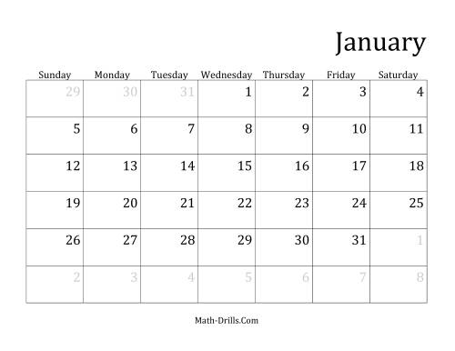 The Monthly General Year Calendar with January 1 on Wednesday (D)